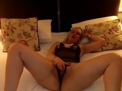 Doxy lascivious wife plays with her twat and sucks dick