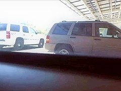 girl squirt on public parking lot