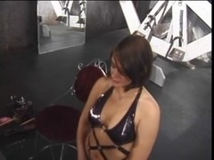 Homosexual cuties in leather do clamping of titts