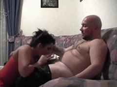 Big boobed brunette has sex in various positions with her man on the sofa