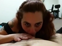 Relaxing on the bed, while the gf pleases me with a blowjob.