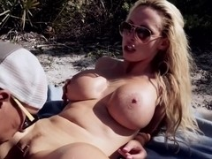Big Tits Blonde Rides Waves and Cock at...