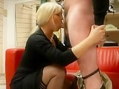 Aged Golden-Haired Gives Expert Blowjob-Job