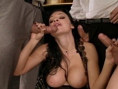 Aletta Ocean gangbang as she mouths a horny group