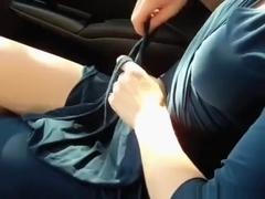 Big boobed brunette girl masturbates her trimmed pussy with a vibrator in her bf's car
