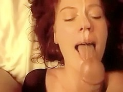 Redhead dilettante wife acquires home facial jizz flow on movie scene