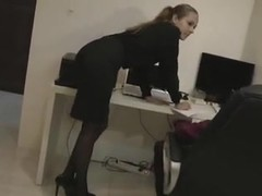 Hot blonde secretary in hose