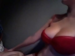 Curvy blonde in red gets nasty