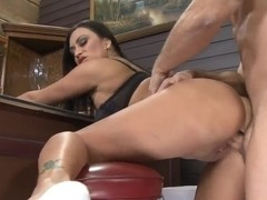 Claudia Valentine pushes her fake tits at John Strong