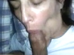 Beautiful Spanish girlfriend sucking big cock on camera