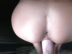 Amateur brunette lets a big cock in her tight pussy