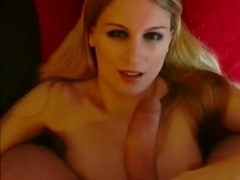 Appealing golden-haired german pov facial