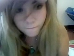 Cute golden-haired angel undresses on web camera
