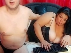 My chubby wife and I posing online