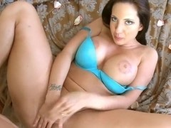 Wonderful brazzy brunette Kelly Divine takes a load from Billy Glide