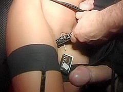 I am wearing sexy stockings in amateur couple sex vid