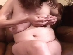 Hairy pregnant chick gets mouth & twat nailed