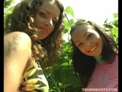 Young busty Jennifer gets pussy toyed by a lesbian