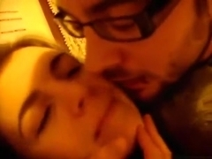 Cute brunette girl gives her nerdy bf a blowjob and gets missionary fucked
