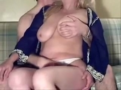 Playing with her large natural dd whoppers