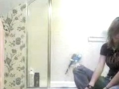 Punk girl getting ready for shower sees hidden cam