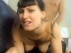 A ring in her nose and a big dick in her pussy.