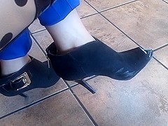 Candid peep toe booties