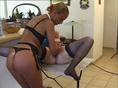 Blonde mistress dominating her blonde French slave girl