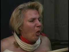 Old boy-friend tortures overweight blond's large titties