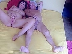 Older couple can't live out of to group-sex