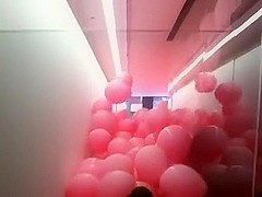 Mass Pink Balloon Burst