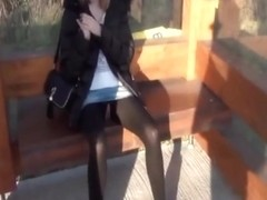 college girl public sex in pantyhose at the bus stop