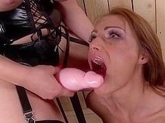Sub girl used anally by Mistress