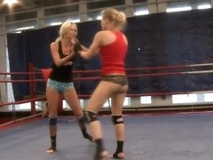 Laura Crystal and Michelle Moist wrestle