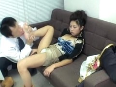 Pretty Jap babe gets licked well during a medical exam