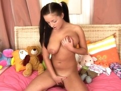 Schoolgirl with meaty pussy lips gets a vaginal creampie