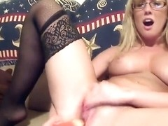 Blonde nerdy web camera model