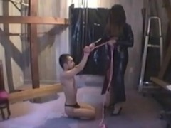 a Bitch Goddess tortures a diminutive villein