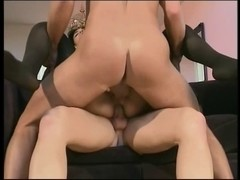 Hot brunette hair receives a precious vagina creampie and facial after getting double penetration'd