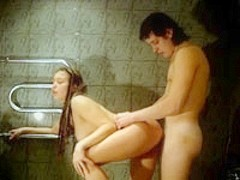 Wet beauty in bath home made bang action
