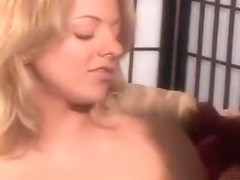 Blond Hussy Swallows Hot Messy Mouthful