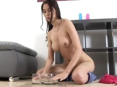 Brunette is all wet and sexy and masturbates very rough