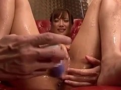 OIled Japanese chick toying