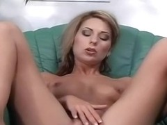 Blond Wife Rubs Clit With Legs Spread