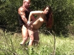 Outdoor amateur porn with a hot couple fucking in the woods