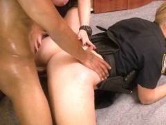 Blonde and brunette female cop interracial threesome