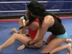Nude fight club presents Emma Butt vs Larissa Dee and Diana Stewart.