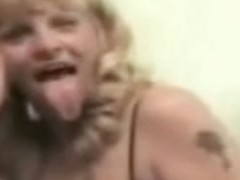 mother and daughter french kissing tongue