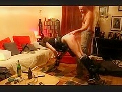 I'm spanking my hon's ass in our nasty amateur porn