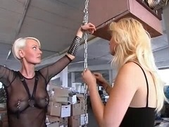 Big butt blonde slave gets spanked pretty hard